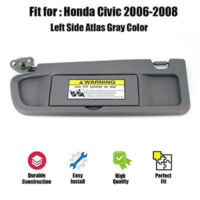 ustar Sun Visor Left Driver Side Fit for Honda Civic 2006 2007 2008 Without Vanity Light Replacement Part #83280-SNA-A01ZA (Atlas Gray, 2006-2008): Automotive