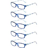 75df73185cb Kerecsen 5 Pairs Fashion Ladies Reading Glasses Spring Hinge Pattern Design  Readers