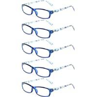 800812f38ef0 Kerecsen 5 Pairs Fashion Ladies Reading Glasses Spring Hinge Pattern Design  Readers