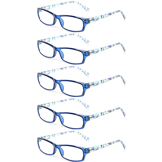 a9a12775594c Reading Glasses 5 Pairs Fashion Ladies Readers Spring Hinge with Pattern Print  Eyeglasses for Women (