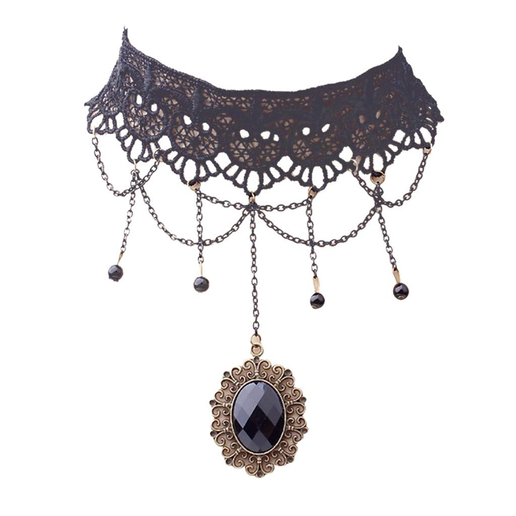 Vincent&July Women Jewelry Elegant Lace Vintage Accessorie Necklace Multi-layer Chain Crystal Choker