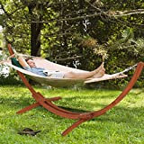 Giantex Wooden Curved Arc Wide Hammock Swing and Stand Set,White (142''x50''x51'')