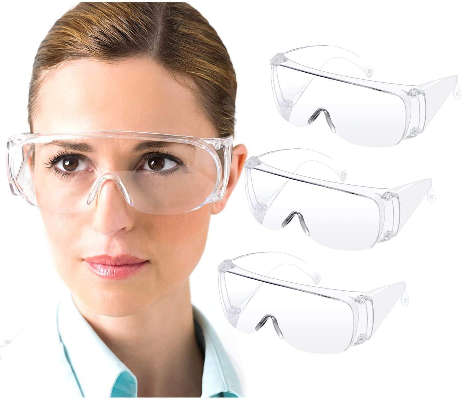 High Definition Safety Protective Goggle Safety Goggles 3 Pack with Clear Anti Fog Scratch Resistant Wrap-Around Lenses Eyewear Protective Glasses for Labs and Workplaces