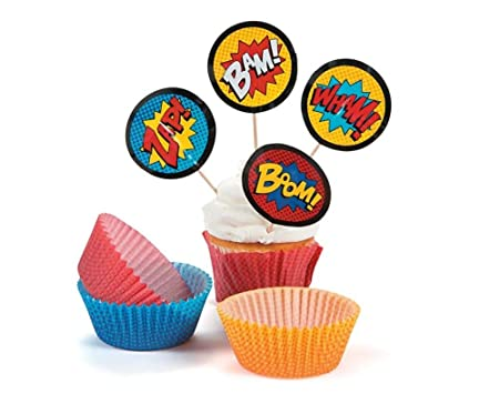 50 Superhero Party Cake Cases And Cupcake Picks Christmas Floristry Supplies