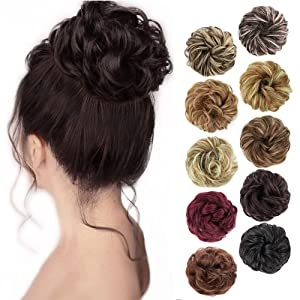 MORICA 1PCS Messy Hair Bun Hair Scrunchies Extension Curly Wavy Messy Synthetic Chignon for Women Updo Hairpiece(Color:6#)
