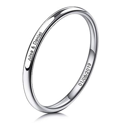 MeMeDIY 2~10mm El Tono De Plata Acero Inoxidable Anillo Ring Banda Venda Alianzas Boda Amor Love - Grabado Personalizado