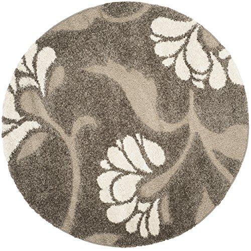 Safavieh Florida Shag Collection SG459-7913 Smoke and Beige Round Area Rug (5′ Diameter) Review