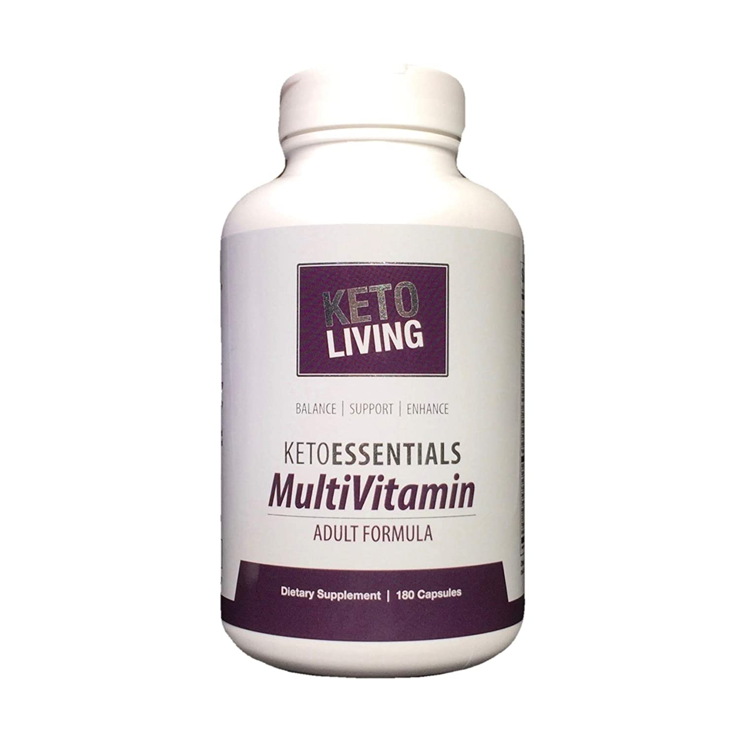 KetoLiving KetoEssentials Multivitamin for Adults – 180 Capsules – Supports Healthy Glucose Insulin Levels – Promotes Keto LCHF Diet Lifestyle – Gluten-Free – 30 Servings