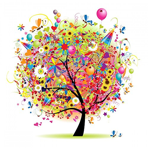 Wallmonkeys Happy Holiday Funny Tree with Balloons Peel and Stick Wall Decals WM118257 (24 in H x 24 in W)
