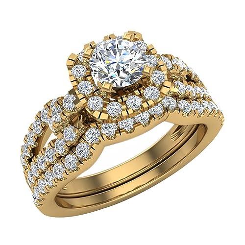 Juego de anillos de boda cojín de vástago bucle de diamante forma 1.05 quilates peso total
