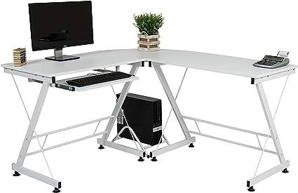 TIKAHOME Mesa de ordenador de oficina con estante para ...