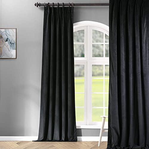 HPD Half Price Drapes VPCH-194007-120-FP Signature Pleated Blackout Velvet Curtain 1 Panel