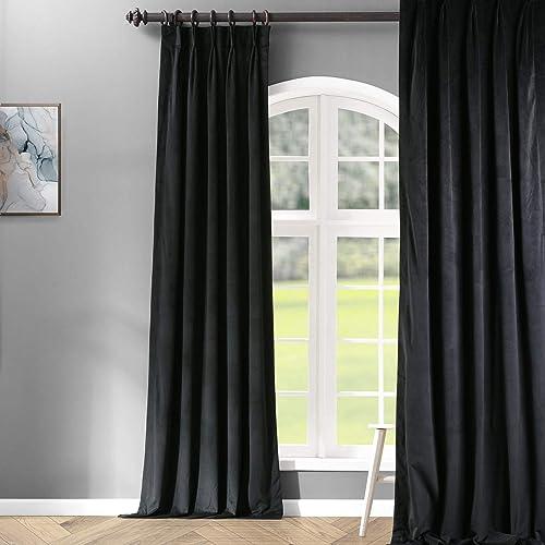 HPD Half Price Drapes VPCH-194007-120-FP Signature Pleated Blackout Velvet Curtain 1 Panel