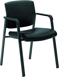 product image for HON Validate Stacking Guest Chair, Black SofThread Leather (HVL605)