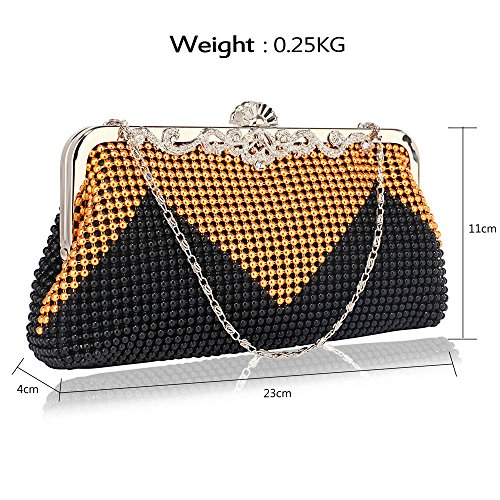 Womens Designer carcasa rígida de embrague, bolsa de noche, satén bolsa de embrague A - Black/Gold