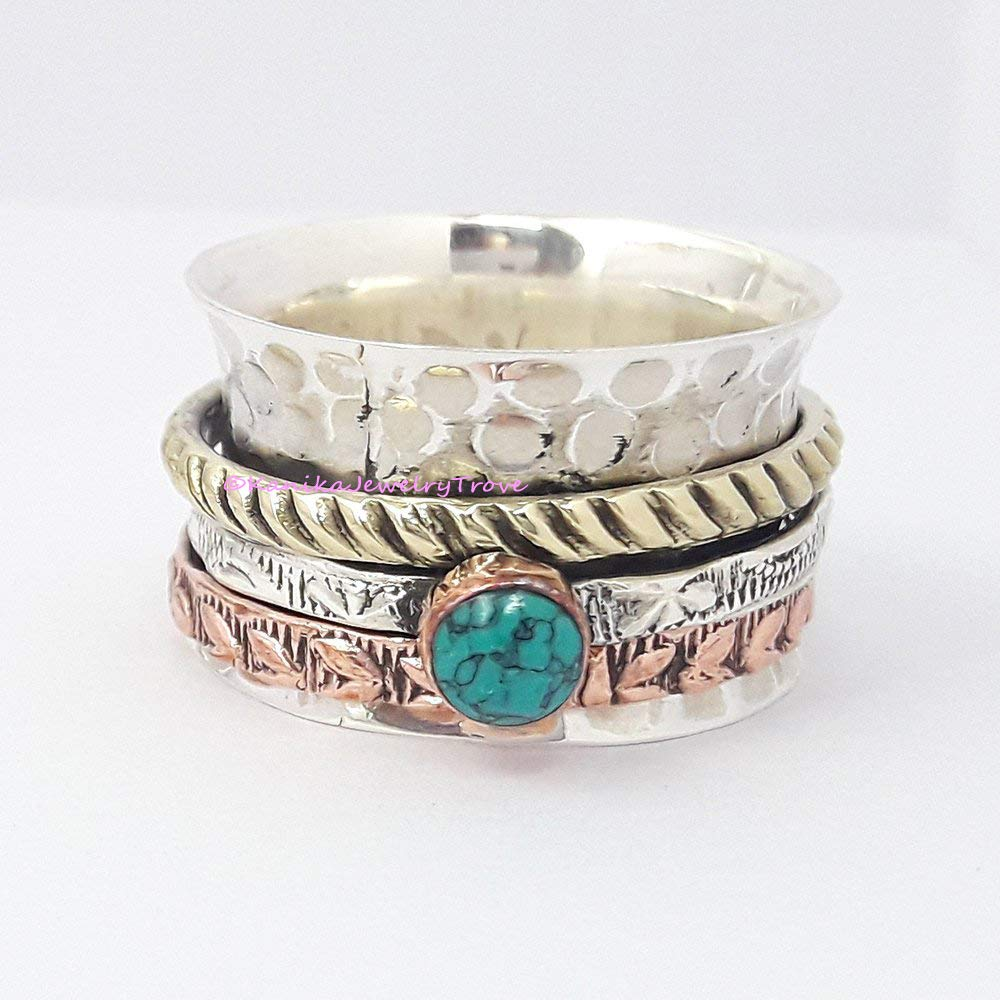 Turquoise Stone Ring Solid 925 Sterling Silver Spinner Handmade Jewelry R136