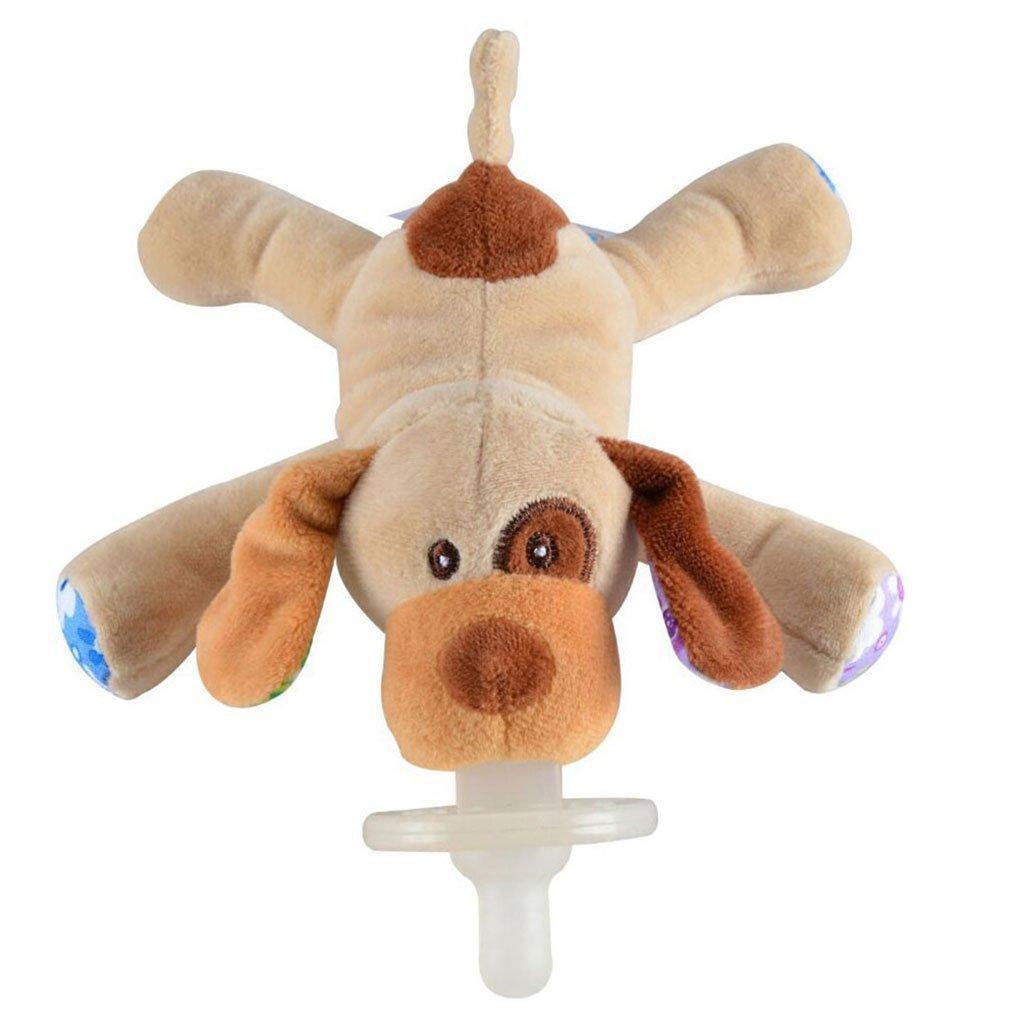 Amazemarket Baby Pacifier Chupete Animal Juguetes Bebé Silicona Pezón con Suave Felpa Juguete Regalo Perfecto para Bebé Infante (Perro)