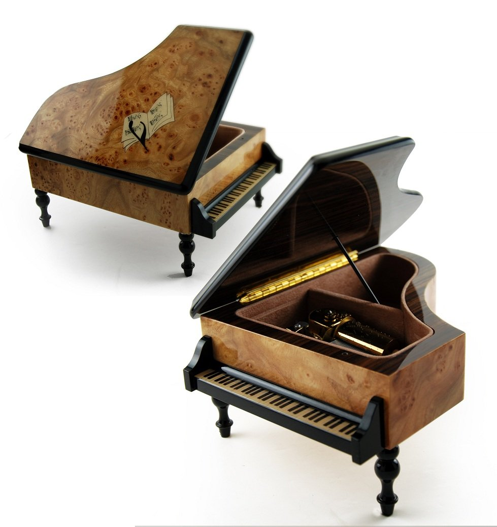 Handcrafted 22 Note Italian Grand Piano Music Box with Sheet Music Inlay - Wedding March - 1 Available