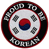 Proud To Be Korean Embroidered Patch South Korea Flag Iron-On Biker Emblem offers