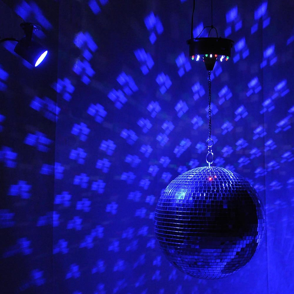 Yescom 12'' Mirror Disco Ball w/Rotating Motor & 3W 3 Blue LED Pinspot Spot Light Kit Home Party Club Lighting by Yescom (Image #2)