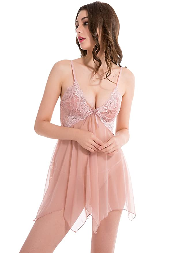 951c7e20f28 Wealurre Women s Pretty Pajama Sexy Lingerie Sling Transparent Underwear  Romantic Cutie Babydoll Set  Amazon.co.uk  Clothing