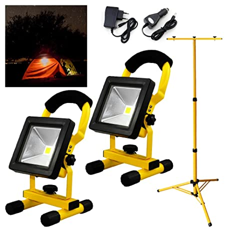 Hengda® 2x10W amarillo blanco cálido LED Foco Recargable proyector ...
