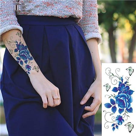 adgkitb 4 Piezas romántico Rosa Oscuro Flores Tatuaje os Falso ...