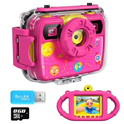 Ourlife Kids Camera, Selfie Waterproof Action Child Cameras,1080P 8MP 2.4 Inch Large Screen with 8GB SD Card for Children Toddler of Age 3,4,5,6+, Silicone Handle, Fill Light, 2020 Upgraded(PINK3): Toys & Games