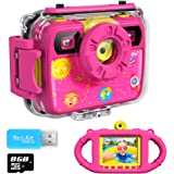 Ourlife Kids Camera, Selfie Kids Waterproof Digital Cameras for Kids 1080P 8MP 2.4 Inch Large Screen with 8GB SD Card, Silicone Handle and Fill Light,2019 Upgraded (PINK3)