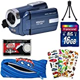 Vivitar DVR-508 HD Digital Video Camera Camcorder (Blue) 16GB Card + Monstar Pouch Case + Puffy Stickers + Tripod + Kit