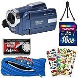 Vivitar DVR-508 HD Digital Video Camera Camcorder (Blue) with 16GB Card + Monstar Pouch Case + Puffy Stickers + Tripod + Kit