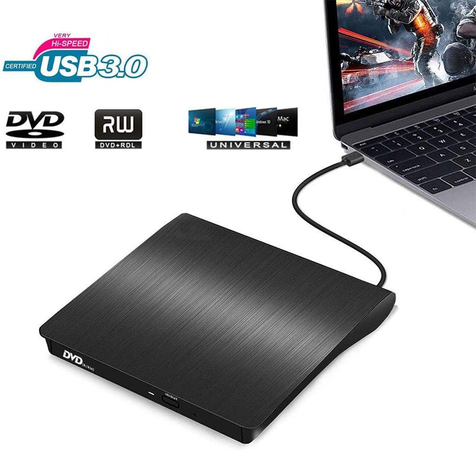 Spmywin External DVD Drive for Laptop, USB 3.0 +/-RW Burner Writer Reader Rewriter, Portable Optical Drive Compatible with Macbook, Desktop, Windows 7/8/10/XP/Vista/Mac(Black)