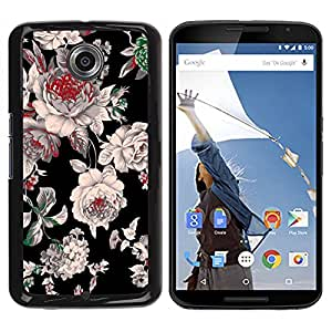For NEXUS 6 / X / Moto X Pro - Black Floral Spring Design /Modelo de la piel protectora de la cubierta del caso/ - Super Marley Shop -