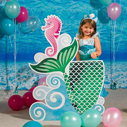 Mermaid Waves and Wishes Photo Stand in Standup Photo Booth Prop Background Backdrop Party Decoration Decor Scene Setter Cardboard Cutout -