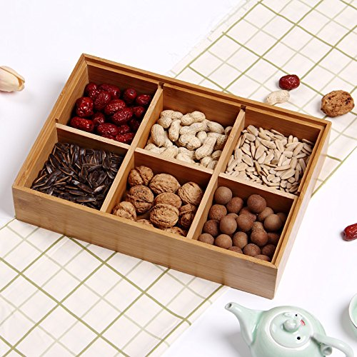 Wood Box,AOLOX Creative Bamboo Tea Bag Storage Box Multi Sectional Snack Serving Tray Set with Lid,Suitable for Tea Bag ,Dried Fruits, Nuts, Candies Holder and sock,Underwear-6 Compartments by AOLOX (Image #5)