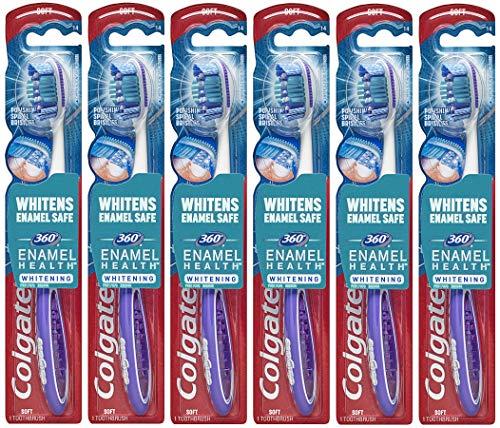 Colgate 360° Enamel Health Whitening Toothbrush, Soft (6 Pack)