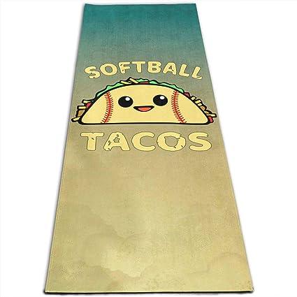 Amazon.com : Zhangyi Softball and Tacos Funny Yoga Mat ...