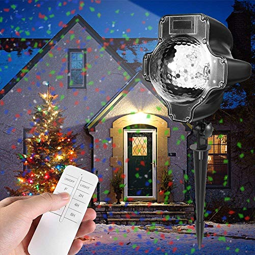 Christmas Projector Lights, Womsky Rotating IP65 Waterproof Sparkling Landscape Projection Light for Decoration Lighting with Remote Control,32ft Power Cable on Christmas Halloween Holiday Party -