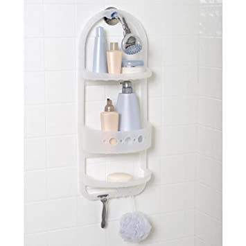 Amazon.com: Over Shower Caddy Bathroom Holder Plastic Organizer ...