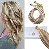 Bleaching Hair Experience - Moresoo Pre Bonded Stick I tip Hair Extensions 14 Inch Ombre Brown Highlighted with Blonde Color #6 and #60 Keratin Tipped Hair Extensions 50g 50 Strands