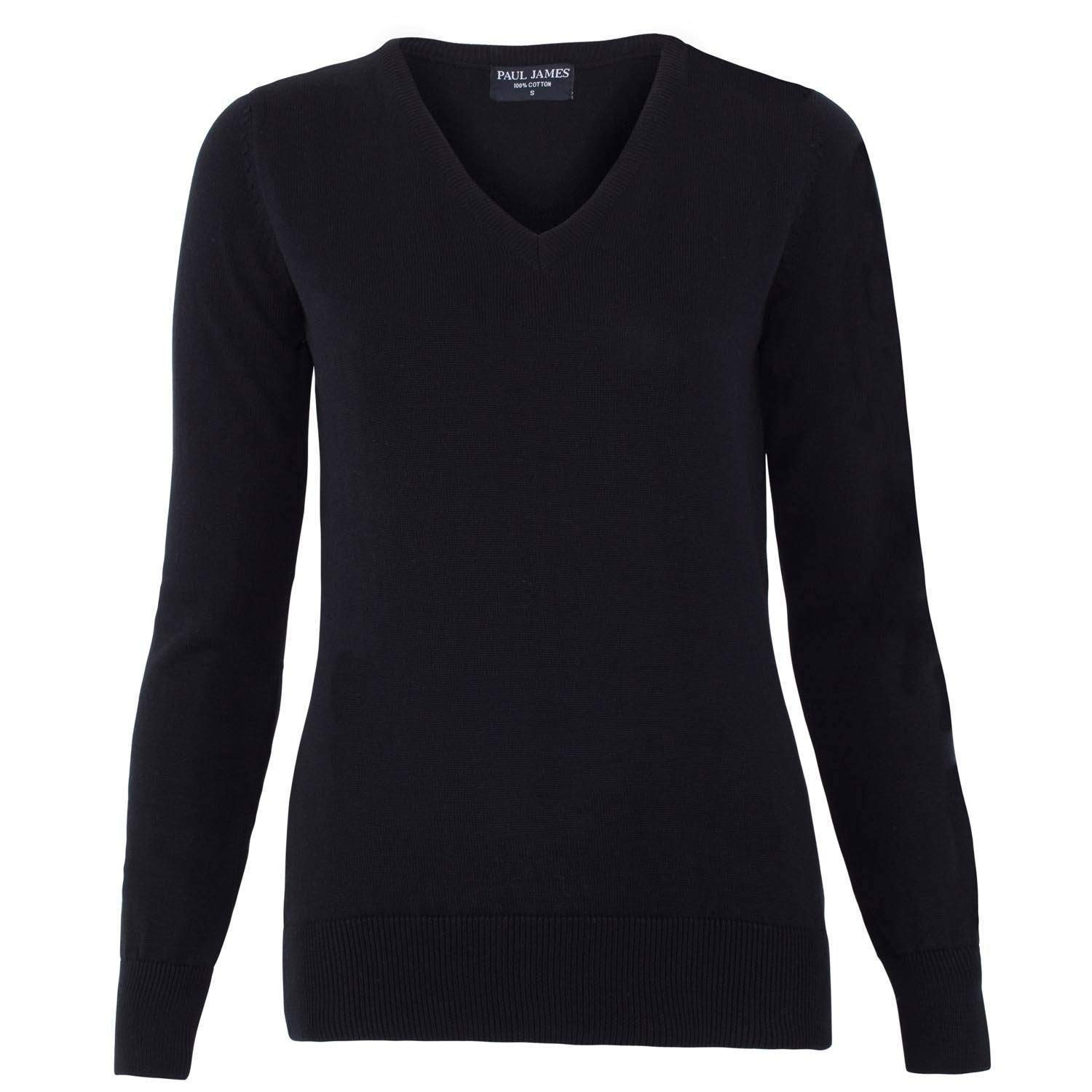 Black Paul James Knitwear Women's Pure Cotton VNeck Jumper