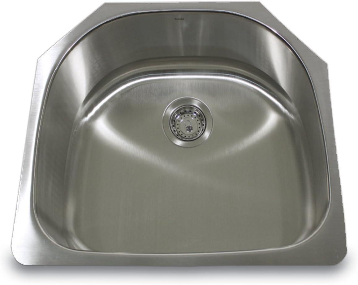 Nantucket Sinks NS03i-16 23-Inch 16-Gauge D-Bowl Undermount Stainless Steel Kitchen Sink