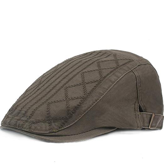 Dazisen Retro Stripe Caps - Cotton Adjustable Hat for Middle-Aged ... 7855da687c6a