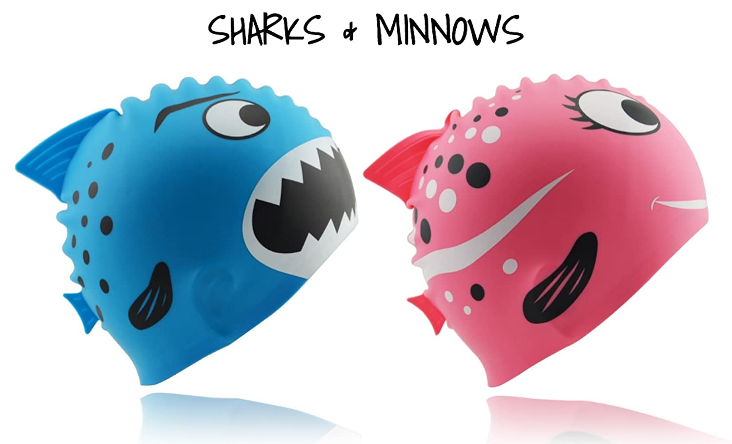 Start Smart Kids Fun Silicone Swim Cap for Boys and Girls - Sharks & Minnows by