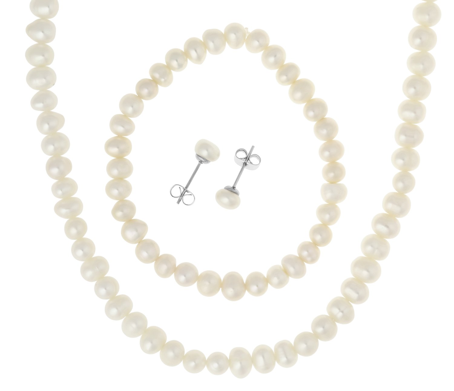 Stainless Steel Freshwater Cultured Pearl Necklace, Bracelet, 6.5mm Earrings Jewelry Set
