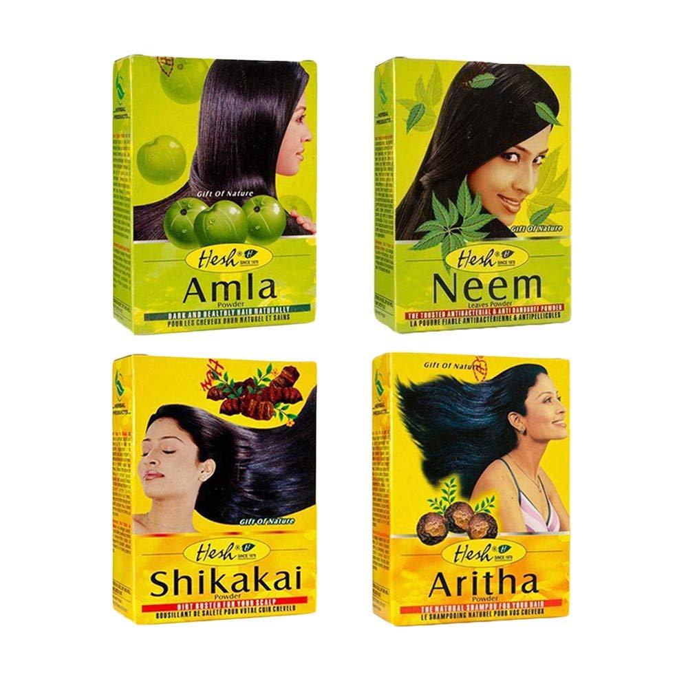 Hesh Herbal Amla Powder 100G, Neem Powder 100G, Shikakai Powder 100G, Aritha Powder 100G - 1 Complete Hair Care Combo Pack