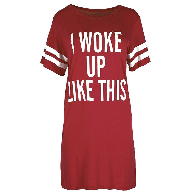 HKFV Clothing Clearance!Women T-Shirts Causal Irregular Patterm Design Short Sleeve Oversized Top Baggy Tunic Night Dress Sports Dress