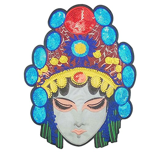 32x24 cm/13x10 inches Patches Pack Hand Iron On Sewing On Embroidered Patch Clothes Stickers Garment DIY Apparel Appliques Decal Sticker (Beijing opera actress 2#)