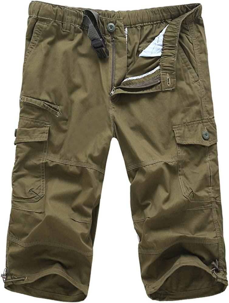 Amacok Mens Casual Twill Elastic Cargo Shorts Below Knee Loose Fit Multi-Pocket Capri Long Shorts