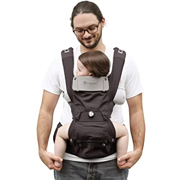 0abf71cd5b2 Amazon.com   HUGPAPA Dial-Fit 3-in-1 Hip Seat Baby Carrier with Teething  Pads (Charcoal)   Baby
